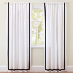 Suite Ribbon Drape, Black - Trimmed window treatments, whether shades or curtains, add a finished touch to a room. Buy yours already trimmed or purchase some fun Greek key tape and trim your own.