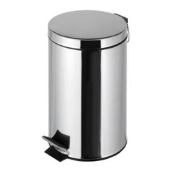 Geesa - Free Standing Round Bathroom Waste Bin with Pedal - Contemporary design free standing 12 liter round waste basket with pedal and cover.
