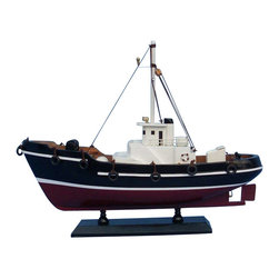 """Handcrafted Model Ships - Drift Wood 14"""" - Wooden Model Fishing Boat - Sold fully assembled"""