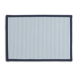 Aqua Ticking Stripe Tailored Placemat Set - Class up your table's act with a set of Tailored Placemats finished with a contemporary contrast border. So pretty you'll want to leave them out well beyond dinner time! We love it in this classic traditional cotton ticking stripe in blue & white.