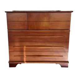 Used Mid-Century Modern Highboy Dresser - A beautiful Mid-Century danish modern style dresser. The dresser has four drawers total, roomy for sweaters and blankets. It can even double as credenza for an office! The dresser is very clean, beautiful and in good vintage condition, with some patina on the outside. Its low profile design is perfect for the modern home!    A matching headboard, shown in photos, is listed separately. Please see other listings.