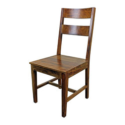 "San Miguel 2 Panel Dining Chair - This San Miguel 2 Panel Chair is part our newest line of furniture. Clean lines, exclusive designs and as always, 100% Solid wood construction. The San Miguel line needs no introduction. This line stands alone from the rest with matching pieces available for Every room in your home. Click on ""collection"" to see more. No veneers are used, Only solid planks of wood and finished with a soft hand-rubbed wax. This finish makes this piece a perfect accent to any Spanish Colonial or Tuscan decor. Perfect with any of our San Miguel dining tables or desks. These 2 panel chairs are sold in pairs Only. Price is per chair."
