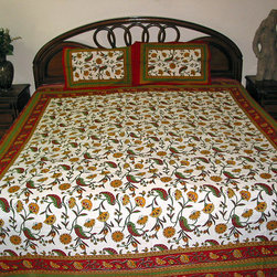 Indian Bedspreads - Go ahead make over to your home with our Indian bedspreads that are perfect for adding ethnic style to your Indian home decor. Create a perfect set that adds to your Indian home decoration by matching an India bedspread with floor pillow covers, cushion covers, sari curtains, Indian tapestries, and table runners.