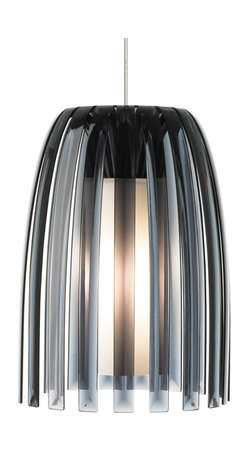 Mini Olivia Smoke Pendant Lamp by LBL - The LBL Lighting Mini-Olivia designed by Koziol of Germany, this elegant and graceful modern pendant is comprised of 100% recyclable plastic which surrounds a hand-blown inner opal glass diffuser and satin nickel finish.