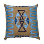Ankasa - Cabo Collection - Geometric Zig Zag Pillow with Sunbrella linen, geometric zig zag arri embroidery