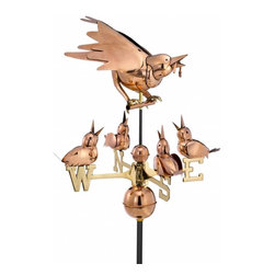 G.D. - Good Directions Mother Bird & Chicks Weathervane - Polished Copper - With a fat worm in her mouth, this protective mother bird is ready to feed her hungry chicks. Together, they add a warm, whimsical touch to the rooftop of your house, barn, garage, or cupola. Our Good Directions' artisans use Old World techniques to handcraft this fully functional, standard-size weathervane that's unsurpassed in style, quality and durability, and carries the logo of the highly prestigious Smithsonian Collection! A great gift for bird enthusiasts!