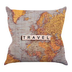 """Kess InHouse - Sylvia Cook """"Travel Map"""" World Throw Pillow (16"""" x 16"""") - Rest among the art you love. Transform your hang out room into a hip gallery, that's also comfortable. With this pillow you can create an environment that reflects your unique style. It's amazing what a throw pillow can do to complete a room. (Kess InHouse is not responsible for pillow fighting that may occur as the result of creative stimulation)."""