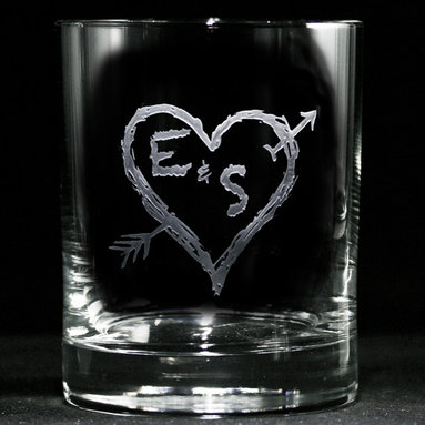 Engraved Wedding Gifts, Bar Glasses - Personalized custom whiskey, scotch and bourbon glasses are the perfect gift for bridal shower, engagement, wedding, birthday and for the man or woman who has everything. Real estate agents and interior designers often give our personalized barware to special clients as housewarming or thank you gifts. Not engraved, but deeply sand carved, each of our glasses is hand crafted. The background is carved away, leaving the monogram and design raised from the glass in a 3D manner. Simply exquisite. Crystal Imagery