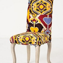"""Anthropologie - Velvet Ikat Clarissa Dining Chair - Grey-washed finish Webbed seat construction Cotton upholstery Kiln-dried hardwood frame; polyfill Professionally clean 44""""H, 20""""W, 20""""D Seat: 21""""H Imported"""