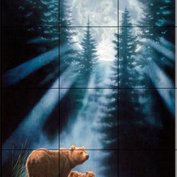 The Tile Mural Store (USA) - Tile Mural - Pure Feeling - Kitchen Backsplash Ideas - This beautiful artwork by Joh Naito has been digitally reproduced for tiles and depicts 2 bears lit up by a bright moon.  A bear tile mural would be perfect as a part of your kitchen backsplash tile project or your tub and shower surround bathroom tile project. Bear images on tile make a great kitchen backsplash idea and are excellent to use in the bathroom too for your shower tile project. Consider a tile mural with bear pictures for any room in your home where you want to add wall tile with interest.