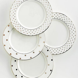 """""""Larabee Road"""" Polka Dot Tidbit Plates, Set of 4 - Dine in style with these dishwasher-safe plates that are so chic you'll want to use them time and time again."""