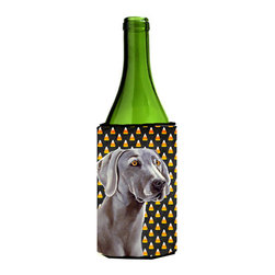 Caroline's Treasures - Weimaraner Candy Corn Halloween Portrait Wine Bottle Koozie Hugger - Weimaraner Candy Corn Halloween Portrait Wine Bottle Koozie Hugger Fits 750 ml. wine or other beverage bottles. Fits 24 oz. cans or pint bottles. Great collapsible koozie for large cans of beer, Energy Drinks or large Iced Tea beverages. Great to keep track of your beverage and add a bit of flair to a gathering. Wash the hugger in your washing machine. Design will not come off.