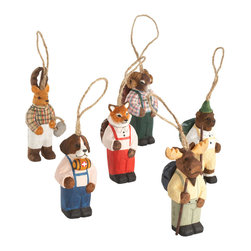 "HIKING TO THE NORTH ORNAMENTS - NEW - On the way to the North Pole, these hiking critters made their way to us. Each one has its own personality and adorns different clothes and accessories. Made of hand-carved wood with hand-painted details, these fun guys will look great spread throughout your tree.Rabbit: 2""w x 1""d x 4""h"