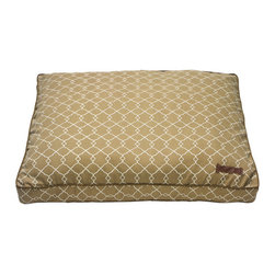 """Jax and Bones - Rectangle Indoor / Outdoor Pillow Dog Bed in Soleil - Features: -Dog bed. -Exclusive polyester fabrics. -Versatile, durable and long-lasting. -Outdoor-safe UV-resistant fabric. -Patented water-resistant design. -Sustainafill allergy-free eco-friendly fiber filling. -Removable and machine washable cover. -Can be placed indoors or outdoors during the summer months. -Proudly made in the USA. -Soleil fabric. -Available in two sizes:. -Medium dimensions: 10"""" H x 28"""" W x 36"""" D. -Large dimensions: 10"""" H x 36"""" W x 42"""" D."""