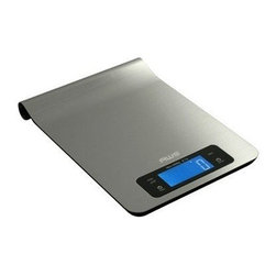 America Weigh Scales, Inc. - Epsilon Digital Kitchen Scale - The Epsilon digital kitchen scale features an award winning stainless steel design that is sure to look good in any kitchen. The scale even features a convenient curved back, allowing it to hang from a number of kitchen rack systems. The large platform and touch key panel are easy to clean as well - just wipe down with a damp cloth. A kitchen timer is also built-in for extra convenience.