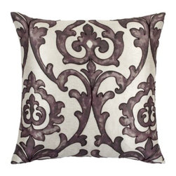 "Z Gallerie - St Lucia Pillow 24"" - Enliven your home with hues of aubergine and soft cream with our St. Lucia Pillow.  Hand embroidered with a cord outlining the traditional printed motif reminiscent of a hand blocked print found at ancient marketplaces.  This pillow is filled with a sumptuous feather and down insert for the ultimate in comfort."