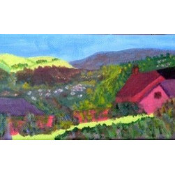 Irish Countryside (Original) by Sally Slifkin - While traveling in Ireland, I came upon this village of cottages being overtaken by the landscape around it. I took a photograph of the scene and painted it in vibrant exaggerated colors. A brilliant, colorful little painting to add interest to a small space on a wall or shelf.