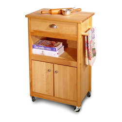 Catskill Craftsmen - Cuisine Cart Wheeled Kitchen Cabinet w Drawer - Enhanced by a cabinet, a shelf and a storage drawer, this castered cuisine cart will be a functional and fashionable addition to any kitchen. Perfect for smaller spaces, it is constructed of Catskills grown hardwoods in oil finish and features a towel bar for added function. Made of US hardwood from the Catskill Mountains. Oil finish. Nickel-plated handles, cabinet knobs and towel bar. Locking caster wheels. Made in the USA. Overall: 15.25 in. L x 22.125 in. W x 34 in. H (53 lbs.). Table top: 15.25 in. L x 21 in. W. Interior drawer: 11.25 in. L x 14.5 in. W x 4 in. H. Interior cabinet: 12.5 in. L x 17.5 in. W x 12.625 in. H. Center shelf: 12.5 in. L x 17.5 in. W x 8 in. HThis functional kitchen cart allows for an assortment of storage options: cabinet, shelf or drawer. The top, doors, drawer, legs and braces are all made from domestic hardwood. The veneer sides are warp resistant and add to the sturdy construction.