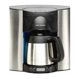 Brew Express - 10 Cup Recessed Coffee Maker - Making the perfect cup of coffee is now as simple as ever. With the award winning 10 cup Brew Express, simply pour in the coffee grounds and let the fully programmable base take care of the rest. The unit is attached to your home's water supply through a refrigerator or under-sink supply line, and is hard wired to your home's power supply. You never have to measure the correct amount of water again. Simply select the amount of coffee you want brewed, from a single cup to a full carafe. The water is spread evenly over the coffee grounds to ensure a consistent brew every time, and brews the coffee in half the time of conventional coffee makers. A built-in pause-n-brew infrared sensor prevents overflows and allows you to remove the carafe or mug at any time, without the mess of dripping coffee collecting on the base. A fully programmable timer/clock ensures that next cup of coffee is ready and waiting at the exact moment of your choosing. For added convenience, a soft-blue nightlight makes reaching for that first cup of coffee in the morning that much easier with a touch sensitive on/off switch on the base. The recessed design saves counter space for cooking and other appliances and includes a rough-in box for wall mounting. An improved carafe design increases heat retention, allowing you to set the carafe on a table or take it to a distant room without significant heat loss. The satin chrome finish matches popular appliances. Also included is a single cup brew basket. An optional carafe lock for child protection or slide prevention in RV's and yachts is available. For homes upgrading from the 12 cup model number BE-112; this unit retrofits into the same housing. A mounting plate must be purchased to complete the installation. Please contact customer service to special order model number MP110 if you are needing to upgrade to the new model from the 12-cup version.