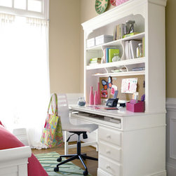 Universal - Smart Stuff - Classics 4.0 Summer White Desk with Hutch - Universal Furniture's Desk with Hutch is the perfect set of youth furniture to inspire a budding writer or motivate a reluctant student. The Summer White finish, pull-out tray, and 3-way dimmer create a bright, neutral feel; enhancing the workspace. Other features include: cork board, electrical outlet access, divided storage and CD shelves, file drawer, and a box drawer with pencil tray. The interchangeable base adds to this versatile piece, allowing you to tailor it to meet your child's needs.
