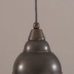Toltec Lighting - Black Copper Cord Mini Pendant with Double Bubble Metal Pendant - - 6 Bronze Double Bubble Metal Shade  - Includes 12 ' of cord   - Bulbs not included Toltec Lighting - 22-BC-427