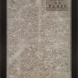 Paragon Decor - Blue Print Map Paris Artwork - Sepia vintage map of Paris