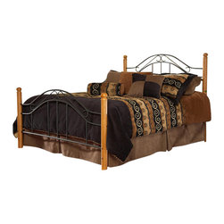 Hillsdale - Hillsdale Winsloh Poster Bed (Headboard with Metal Frame)-Twin - Hillsdale - Beds - 164HTWR - A simple yet already classic design that has become one of the industry's best sellers. A lodge or cottage theme marries round medium oak finish hardwood post with a textured black metal panel.