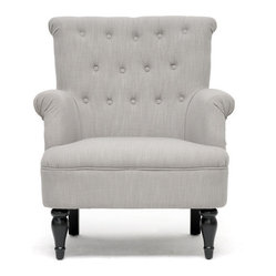 Baxton Studio Crenshaw Light Grey Linen Modern Club Chair
