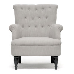 Baxton Studio - Baxton Studio Crenshaw Light Grey Linen Modern Club Chair - Only the best seat in the house for you. This exquisite armchair is designed with style and comfort in mind. Luxurious linen is perfectly placed over a wooden frame and dense foam cushioning. A smattering of tufted upholstered buttons and dashing black turned wood legs transform this dapper darling into sought-after seating.