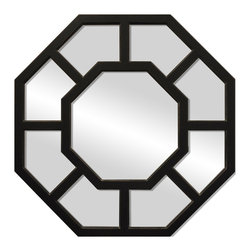 """Enchante Accessories Inc - Aluminum Framed Wall Mirror 24"""" Octagon (Shabby Black) - Aluminum Framed Octagon Wall MirrorDecorative design with a weathered finish for a vintage lookPerfect Foyer MirrorVersatile design that can be hung in any hallway, living room, bedroom, or entrywayMeasures 26 in. DiameterMirrors not only reflect your image, but they reflect your style.  The types of mirrors you choose to hang in your home not only provide function, but act as a great accent piece that shows your sense of style apart and reflects your taste.  Made from durable wood and accented with distressed finishes, beveled edges, and weathered details that give them a rustic, vintage look, these mirrors add beauty to any wall in any room of the house.  Perfect for use in an entry way, a hallway, a dining room, a living room, or a bedroom, these rustic mirrors have that vintage inspired French country look that adds instant charm and casual comfort to any home. For a unique look and an interesting display, hang mirrors of different sizes, shapes, and colors on the same wall.  Mirrors help to add texture and dimension and create the illusion of a larger space.  By hanging multiple mirrors in a small space, you can create interest and increase the perceived size and feel of the space around you.  Available in both rectangular shapes and rectangular shaped frames with oval mirrors in the center, these rustic wood mirrors come in a variety of color finishes that have a neutral appeal and can be easily coordinated with any type of rustic furniture or shabby chic room decor. With the look and feel of a treasured family heirloom, these mirrors are aged and weathered to give them a vintage look and evoke a sense of old fashioned spirit.  Reminiscent of something you may have once seen in a charming country cottage, these wooden mirrors let you check out your own reflection as well as reflect the beautiful room around you.  The antique look makes them the perfect addition to any casual sp"""