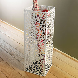 White Mosaic Metal Umbrella Holder - Give even the little details some style when you choose this artistic umbrella holder. Constructed from epoxy-coated steel, the metal sides are perforated with a mosaic of geometric shapes for a uniquely modern and durable look.