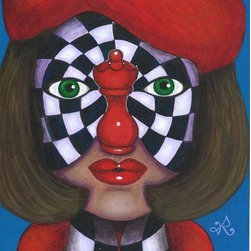 """""""Chess-Nut"""" (Original) By Roopa Dudley - This Painting Was In The Capital Gazette Newspaper Of Maryland Issued On December 2012 When It Was Exhibited In An Art Gallery During """"Midnight Madness"""" Event During Christmas Holidays."""