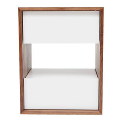 """ARTLESS - THN 1.5 Night Stand in White - ARTLESS THN 1.5 is a 18"""" by 18"""" nightstand with a height of 24. It took us a while, many years in fact, to develop a tall nightstand. For ARTLESS 24 inches is very high, since we tend to keep things low to the ground. We like the proportions and we like the material and color contrast. The open space acts as a shelf, thus a functional component as well."""