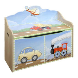 "Teamsons Transportation Kids Toy Chest - Perfectly hand carved of the finest wood, and vividly hand painted, this toy chest will keep your kids room tidy, and at the same time add that finishing touch to your juvenile furniture. Dimensions: 32"" x 15"" x 26"""