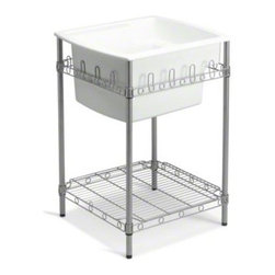 """STERLING PLUMBING - STERLING Latitude(R) Utility Sink with Stand, 25"""" x 22"""" x 36"""" (Basin Depth is 12 - Made of solid Vikrell(R) material, the durable, easy to install Latitude utility sink offers subtle, contemporary style. Along with the unique, quarter-deck design, the free standing metal stand provides extra storage space and maintains the overall modern appeal."""