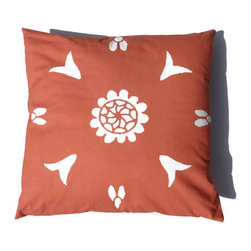 Orange Pillow Suzani Moroccan African 20 x 20 - Suzani Throw Pillow in Tangerine / Burnt Orange Color and Off White Print. This is one of my original textile designs printed on 6 oz weight cotton fabric. Back side is solid orange and this pillow has an invisible zipper for easy access. Can be machine washed separately on delicate cycle, cold water with non-phosphate detergent and line dried. However, dry cleaning is recommended for best result. (Style: Suzani Stencil)
