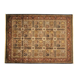 Garden Design Oriental Rug 9X12 Hand Knotted New Zealand Wool Kashan Rug SH12683 - This collection consists of fine knotted rugs.  The knots per square inch means more material in the rug as well as more labor.  This leads to a finer rug and a more expoensive rug.  Classical and traditional persian motifs are usually used as designs in these rugs.