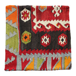 Hand made in Turkey - Kilim Pillow Cover - Hand Woven Antique Kilim Turkish Pillow Cover