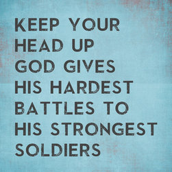 Keep Calm Collection - God Gives His Hardest Battles To His Strongest Soldiers, premium wall decal - This premium wall decal sticks to virtually any surface and can be removed and repositioned 100 times or more, without leaving any residue or removing paint from walls. The decal is made from a fabric material with self adhesive backing for easy peel and stick installation. This wall decal includes a 1 inch white border. Recommended for indoor use only. Installation instructions included. Printed in the USA, using archival pigment based inks.