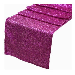 Chambury Casa - Sequined Table Runner, Fuchsia, 12x108 - Celebrate your special day with your reception accented with these beautiful sequined table runners.