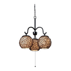Kenroy Home - Kenroy 93403BRZ Castillo 3 Lt Outdoor Chand. - Three rounded lanterns shine suspended from graceful curved arms. Castillo's woven shade design is artful and tactile with a Mediterranean flavor.