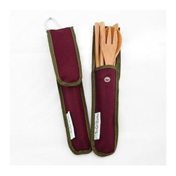 To-go Ware Bamboo Utensil Set - Merlot - 4 Piece - The RePEaT Bamboo Utensil Set is perfect for people and pandas alike! The sets include a practical set of beautiful bamboo fork, spoon, knife, and chopsticks in a distinguished Beet colored holder. This holder is made from RPET: a fabric from Recycled Plastic Bottles. These bamboo utensils are heat and stain resistant, won't impart or absorb flavors, lightweight, strong and long lasting. These beautiful utensils are hand finished with top grade natural, food-safe wood oil.