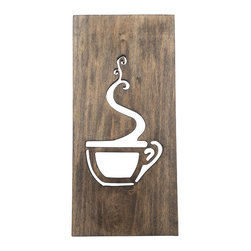 Timber Art Signs - Kitchen Art Coffee Sign Wood Home Decor Unique Wall Art - This modern coffee wall plaque is made from a solid pine board with cut out coffee cup a gripping aroma. It is finished in a dark Kona brown with the beauty of wood grain shining trough . Modern minimalist style a great addition to any kitchen.