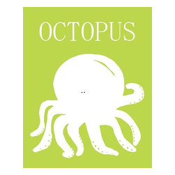 Oh How Cute Kids by Serena Bowman - Octopus Silhouette, Ready To Hang Canvas Kid's Wall Decor, 16 X 20 - Each kid is unique in his/her own way, so why shouldn't their wall decor be as well! With our extensive selection of canvas wall art for kids, from princesses to spaceships, from cowboys to traveling girls, we'll help you find that perfect piece for your special one.  Or you can fill the entire room with our imaginative art; every canvas is part of a coordinated series, an easy way to provide a complete and unified look for any room.