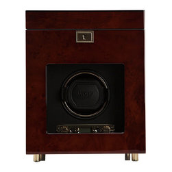 Frontgate - Single Winder with Storage - Wood frame construction. Gold plated hardware. Black silk fabric lining. Lock-in cuff for larger, heavier watches, clicks and locks into the turning drum for a secure fit. Winds one watch; houses three additional watches. Constructed with a sturdy wooden frame, the Savoy Single Winder features a black textured silk faceplate, gold plated hardware, recessed metal hinges, key lock closure and a see-through tempered glass lid. This elegant winder provides turns per day options of 300-1200 turns per day rotating clockwise, counter-clockwise or bi-directional. The individual options of rotation and direction settings combine to offer 57 personal programming options. Additionally, this Single Winder provides storage for up to three additional watches.  .  .  .  .  . Drum size: 71mm deep and 77mm wide . Powered by two D-cell batteries . Also runs on AC power: 3.3V (110/220V) .