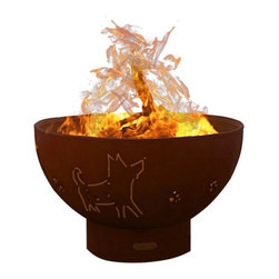 Fire Pit Art - Funky Dog, Mild Carbon Steel Fire Pit - A whimsical look at man's best friend.