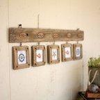 Rustic Wood Photo Display - Display 5 square photos with this rustic wall piece. Made from rustic driftwood, the piece adds laid-back style to your room with ease.