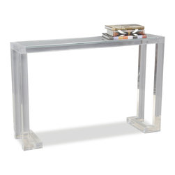 Kathy Kuo Home - Ava Modern Acrylic Console Table - If you're looking for a light, airy console table with plenty of space and function, the answer is clear.  Crafted from acrylic and glass, this delightfully modern console is a great piece for display and clutter control.