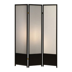 Coaster - Folding Screen (Black) By Coaster - Description: This Room Divider is great for sectioning off any space in your room and at the same time serves as a wonderful accent. The wooden paneling of this Room Divider is finished in an appealing Black tone. The smoked glass like panel screens allow for partial light to come through and add to its appeal. Double hinges allow the three panels to be folded in either direction. This Room Divider from Coaster is an excellent functional item to have in your home.