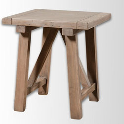 Wooden Truss Side Table - This wood truss table is so perfect for farm-style and coastal decor. I think it's a lovely way to serve a mid-afternoon lunch for a few of your guests. Two of these would also be perfect paired in front of your sofa.
